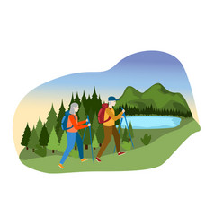 Lovely couple male female together camp outdoor vector