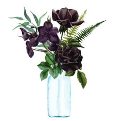Lush floral bouquet in vase hand drawn vector