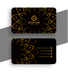 Luxury black business card with golden decoration vector