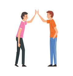 male friends giving high five to each other vector image