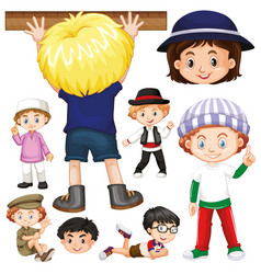 many children with happy face in different actions vector image