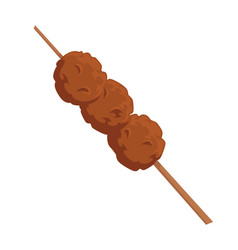 Meatballs on wooden stick skewer with meat vector