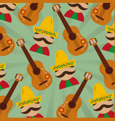 mexican man with hat mustache and guitar pattern vector image