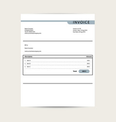 Minimal invoice template bill finance vector