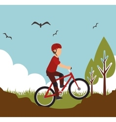 Mountain bike rider sport design vector