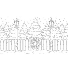 new year landscape trees in snow coloring vector image