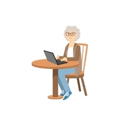 Old Woman Working On Lap Top vector