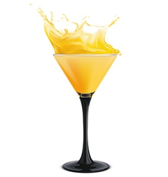 Orange cocktail with splashes vector image