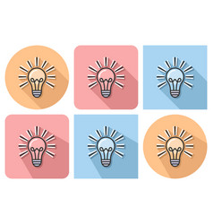 outlined icon of lamp radiating light with vector image
