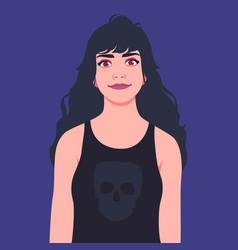 Portrait a cute goth girl in a black undershirt vector