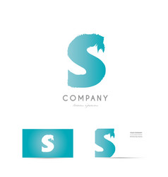 S blue letter alphabet logo icon design vector