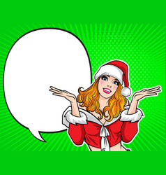 santa woman smiling gesture presenting something vector image