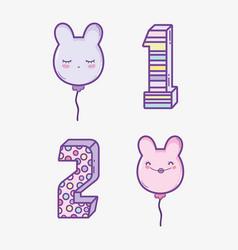 set happy birthday decoration to celebrate years vector image