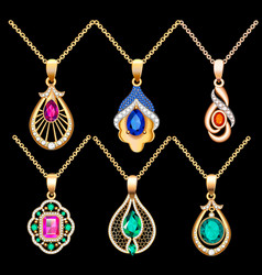 Set necklace pendants jewelry made precious vector
