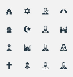 set simple religion icons vector image