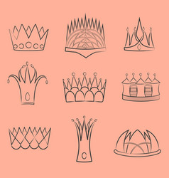 set with diverse outlined fantasy crown contours vector image
