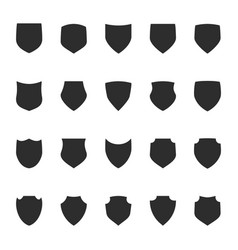 shield protection icons collection silhouette vector image