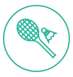 Shuttlecock and badminton racket line icon vector