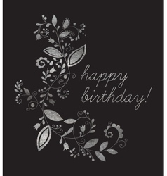 Silver greeting Happy birthday card vector