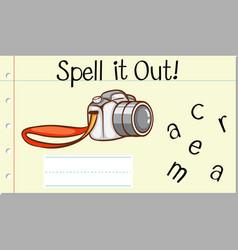 Spell english word camera vector