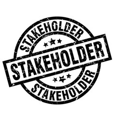 stakeholder round grunge black stamp vector image
