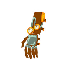 Steampunk mechanical hand antique device vector