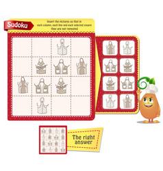Sudoku logic kitchen aprons vector