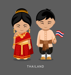 Thais in national dress with a flag vector