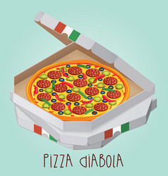 The real pizza diabola italian pizza in box vector