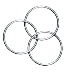 Three linking metal rings for showing magic trick vector