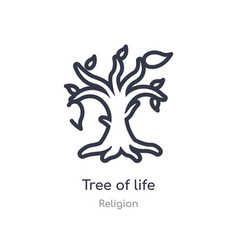 Tree life outline icon isolated line from vector
