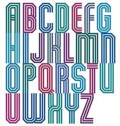 Triple stripe geometric font retro style typeface vector