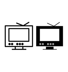 tv line and glyph icon monitor vector image