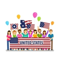 USA United States Happy crowd of people with vector