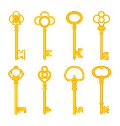 Vintage keys yellow old icons ornate heads vector