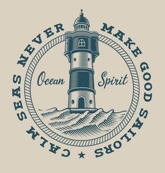 Vintage nautical emblem with a lighthouse on vector