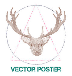 Vintage poster with deer vector