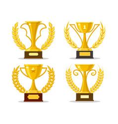 winner cups with laurel wreaths vector image