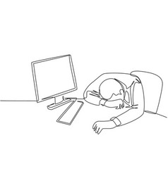 Work overload fatigue concept one single line vector