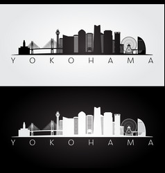 Yokohama skyline and landmarks silhouette vector