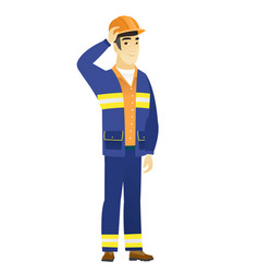 Young asian builder in workwear and hard hat vector