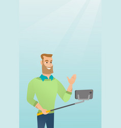 Young caucasian hipster man making selfie vector