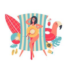 Young woman in bikini sunbathing lying vector