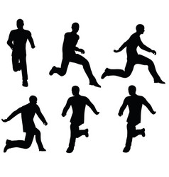 Boy silhouette in leaping pose vector