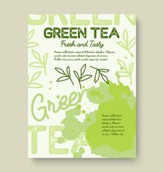 Green tea poster or banner typography design vector