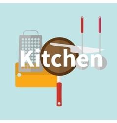 Kitchen utensils Flat design vector image vector image