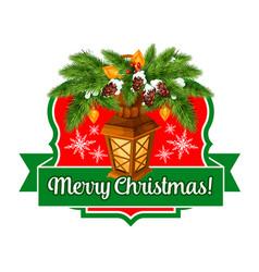 merry christmas lights ribbon greeting icon vector image