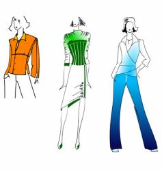 orange green blue fashion girl vector image vector image