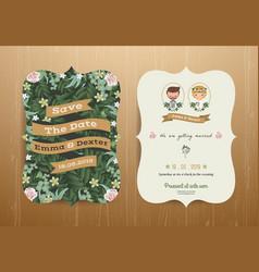 Wedding invitation card cartoon bride and groom vector