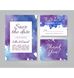 Wedding invitation card set with watercolor vector